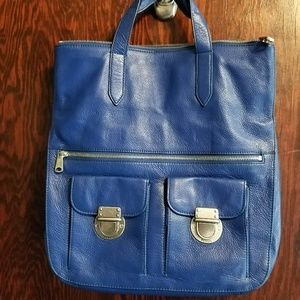 Blue Fossil Fold-Over Shoulder Bag Multi-Style